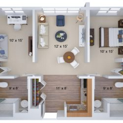 3D Floor Plan Renderings with Dimensions
